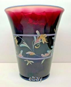 Vintage Fenton Plum Opalescent Diamond Optic Scroll Vase-Connoisseur Collection