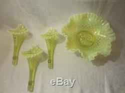 Vintage Fenton Topaz Opalescent Hobnail Vaseline Glass 3 Horn Epergne