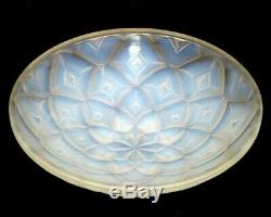 Vintage French Art Deco Hunebelle Opalescent Glass Geometric Dahlia Bowl