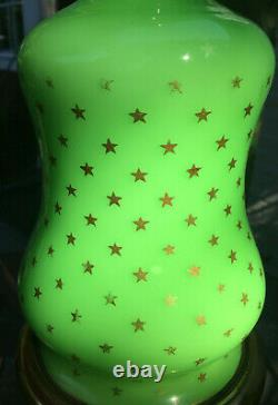 Vintage French Green Opaline Glass with Gold Stars