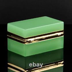 Vintage French opaline box casket golden polished metal rectangular green