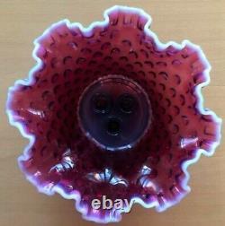 Vintage Genuine Fenton Hobnail Glass Plum Opalescent Epergne