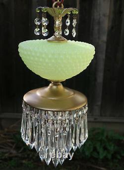 Vintage Lamp chandelier MURANO Venetian Yellow Opaline Art Bubble Glass brass