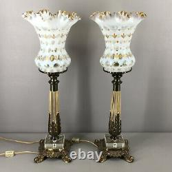 Vintage Matching Pair Fenton French Opalescent Coin Dot Lamps 22.25 Tall