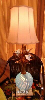 Vintage Mid Century Italian Art Glass Lamp Murano Barovier Seguso Opalescent