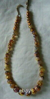 Vintage Opalescent Fire Foil Glass Bead Art Deco Bohemian Czech Necklace