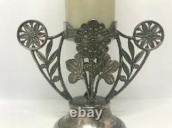 Vintage Smith Brothers Glass Cylinder Vase-Pairpoint Silver Plate Holder #1500