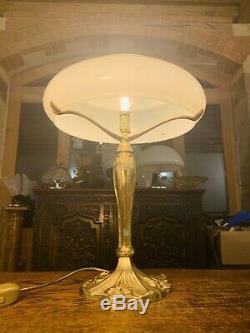 Vintage Solid Bronze & Opaline Milk Glass Table Lamp, Art Deco, Art Nouveau