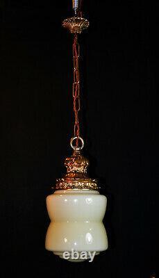 Vintage art deco C-1940s schoolhouse gilt metal & Opaline glass pendant light