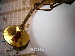 Vintage art deco Opaline milk glass & Brass school house pendant light