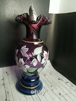 Vtg 1996 Fenton Plum Opalescent Gold Vase Signed Handpainted 8.75 50th Mulberry