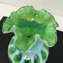 Vtg Rare Fenton Lime Green Opalescent Ruffled 8.75 Vase Coin Dot