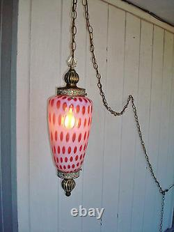 WORKING Vintage Fenton Cranberry Opalescent Coin Dot Hanging Lamp with 12' Chain