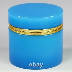 XL Antique French blue opaline crystal glass trinket Box bronze dore mounts