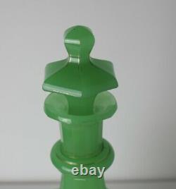 19ème Siècle Green Français Opaline Cut Glass Decanter Couleur Étonnante