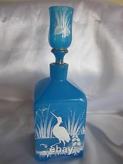 19ème Siècle Moser Blue Opaline H. P. Stork Barber Bouteille