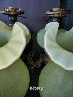2 Fenton L. G. Wright Daisy - Fern Yellow Topaz Vaseline Opalescent Hurricane Lamp