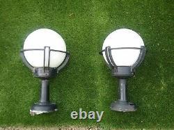 2 Vintage Lampe De Pendentif Industriel Opaline Art Deco