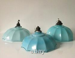 3 X 1930s Italien Art Déco Opaline Blue Glass Ceiling Lamp Shade Light Vintage