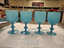 4 Français Portieux Vallerysthal Blue Opaline 6 1/2 Goblets De Vin D'eau Pv Verre