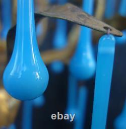 50 Verre D'art Turquise Opaline Blue Lustre De Lampe Dorée Sconce Partie 3,75 Prismes