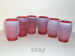 6 Fenton Cranberry Opalescent Hobnail Barrel Tumblers