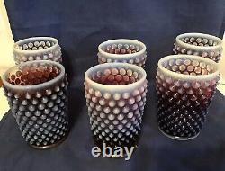 6 Vintage Fenton Art Glass Plum Opalescent Hobnail Tumblers