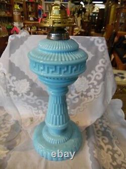Ancien Portieux Vallerysthal Bleu Lampe À Huile Opaline