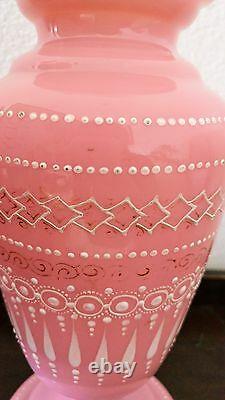 Antique 19c Opaline Victorian Pink Bristol Enameled Art Glass Vase