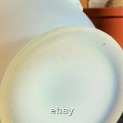 Antique Art Déco Etling France Vase En Verre Opalescent Blanc Vers 1920 Raisins Rares