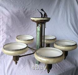 Antique Art Deco Opalescent Slip Shade Semi-flush Suspension Chandelier Restore