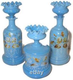 Antique Baccarat Bleu Opaline W Émail Fleurs Vanity Set Bouteille & Puff Box