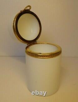 Antique Baccarat Opaline White Box Gilded Mounted Ormulu Heavy Boite Jadeite