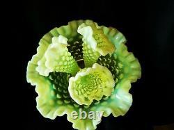 Antique Fenton Vaseline Hobnail Opalescent Fine Art Glass Flower Epergne Vase