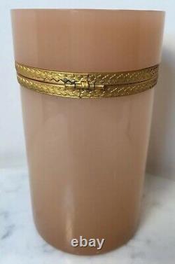 Antique Français Art Glass Pale Pink Opaline Jar Ormolu Mounts 6 1/8 Beautiful