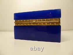 Antique Français Cobalt Blue Opaline Box Gilded Ormolu Mounted Baccarat Glass