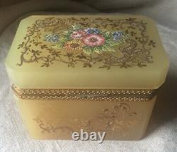 Antique Français Floral Enameled Opaline Glass & Ormolu Commode Casket, Boîte À Bijoux