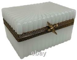 Antique Français Victorian White Opaline Glass Bronze Ormolu Bird Jewel Casket Box