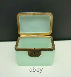 Antique French Opaline Art Glass Bijoux Coffret Box Celadon Green Glass