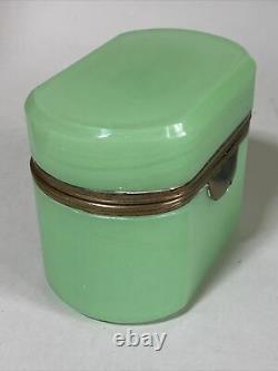 Antique Italien Opaline Boîte De Verre Boite De Verre Casket Vert