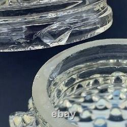 Antique Main Victorienne Soufflé Blanc Opalescent Hobnail Art Glass Lamp Shades Paire