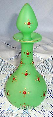 Antique Opaline Uranium Glass Jeweled Scent Bottle Ottoman Palace Turc