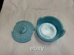 Antique Portieux Vallerysthal Bleu Opaline Verre En Poudre Recouvert De Verre / Plat