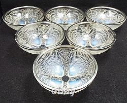 Antique R Lalique Crystal Coquilles 6 Bols Opalescent #3204 Avec 950 Jantes Argentées