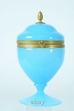 Antique Turquoise Opaline Verre Boite À Boire Coffret En Laiton Doré Monture Art Nouveau