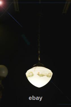Art Déco Bronze Début Opaline Plafond De Verre De Lait Pendentif Lumière Bol Peint À La Main