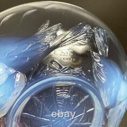 Art Déco Ezan France Opalescent Glass Bowl Oiseaux Nicheurs