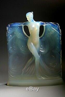 Art Déco Sabino En Verre Opalescent Figurine Suzanne