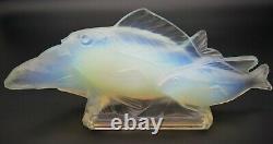 Art Déco Sabino Opalescent Art Glass Group Poisson 14,5 Signé C. 1928 Lalique Era