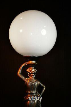 Art Rare Vintage 1940 Lampe Figural Bronze Déco Ombre Globe En Verre De Lait Opaline